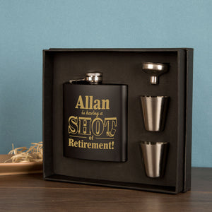 Personalised Retirement Hip Flask Gift Set