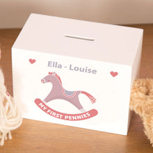 Load image into Gallery viewer, Personalised Pink & White Rocking Horse Wooden Money Box