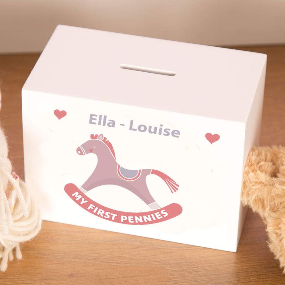 Personalised Pink & White Rocking Horse Wooden Money Box