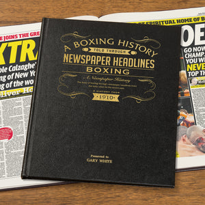 Personalised Boxing Newspaper Book With Leather Cover
