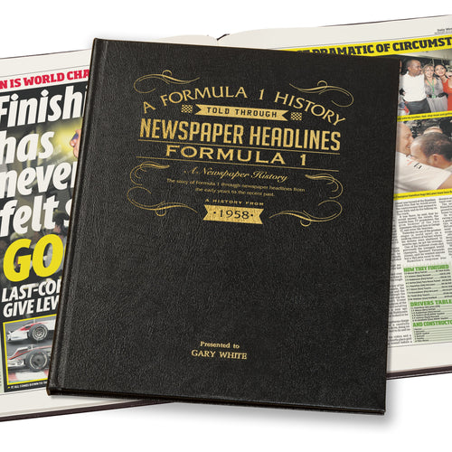 Personalised Leather Bound Formula One Newspaper Book