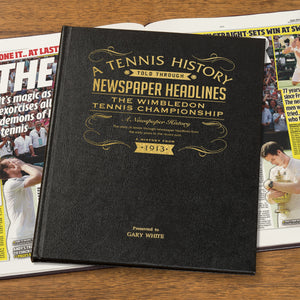 Personalised Wimbledon Tennis Championship Newspaper Book With Leather Cover