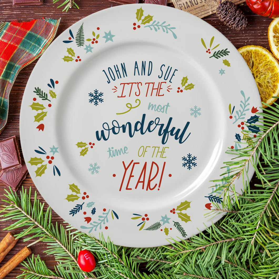 Personalised The Most Wonderful Time Of The Year Bone China Christmas Plate