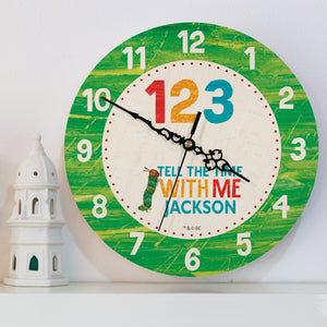 Personalised Very Hungry Caterpillar Tell The Time With Me Wooden Wall Clock