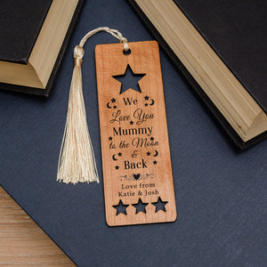 Personalised Love You To The Moon & Back Wooden Bookmark