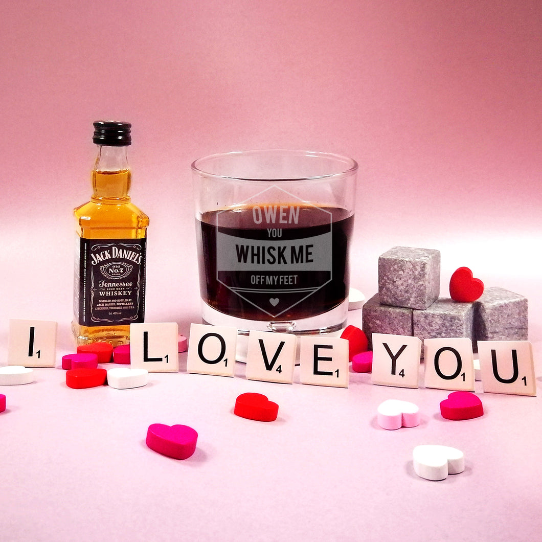 Personalised Whisk Me Off My Feet Glass Tumbler & Miniature Jack Daniels