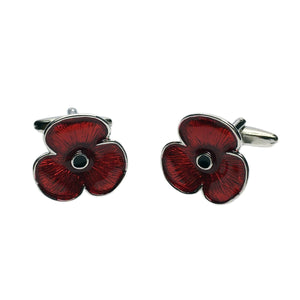 Personalised Red Poppy Cufflinks