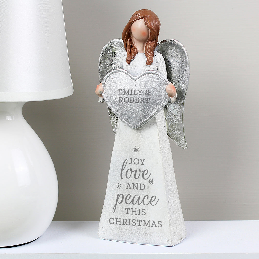 Personalised Joy Love & Peace Christmas Angel Ornament