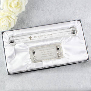 Personalised Baptism Silver Plated Certificate Holder