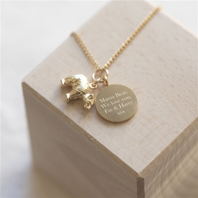 Personalised Gold Plated Bear Necklace In Personalised Gift Box