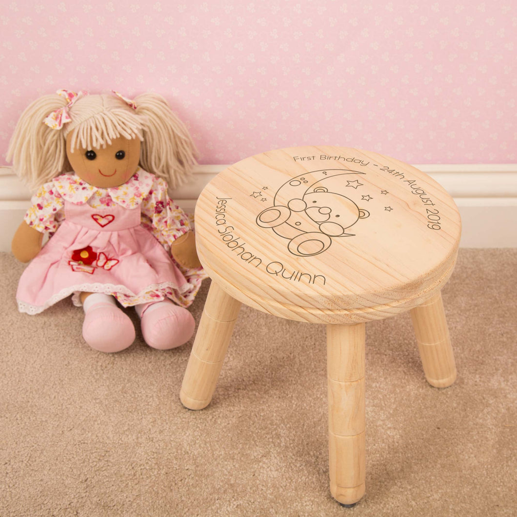 Personalised Teddy Bear & Moon Design Child's Wooden Stool