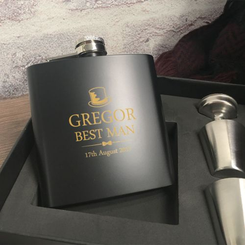 Personalised Best Man Hip Flask Gift Set