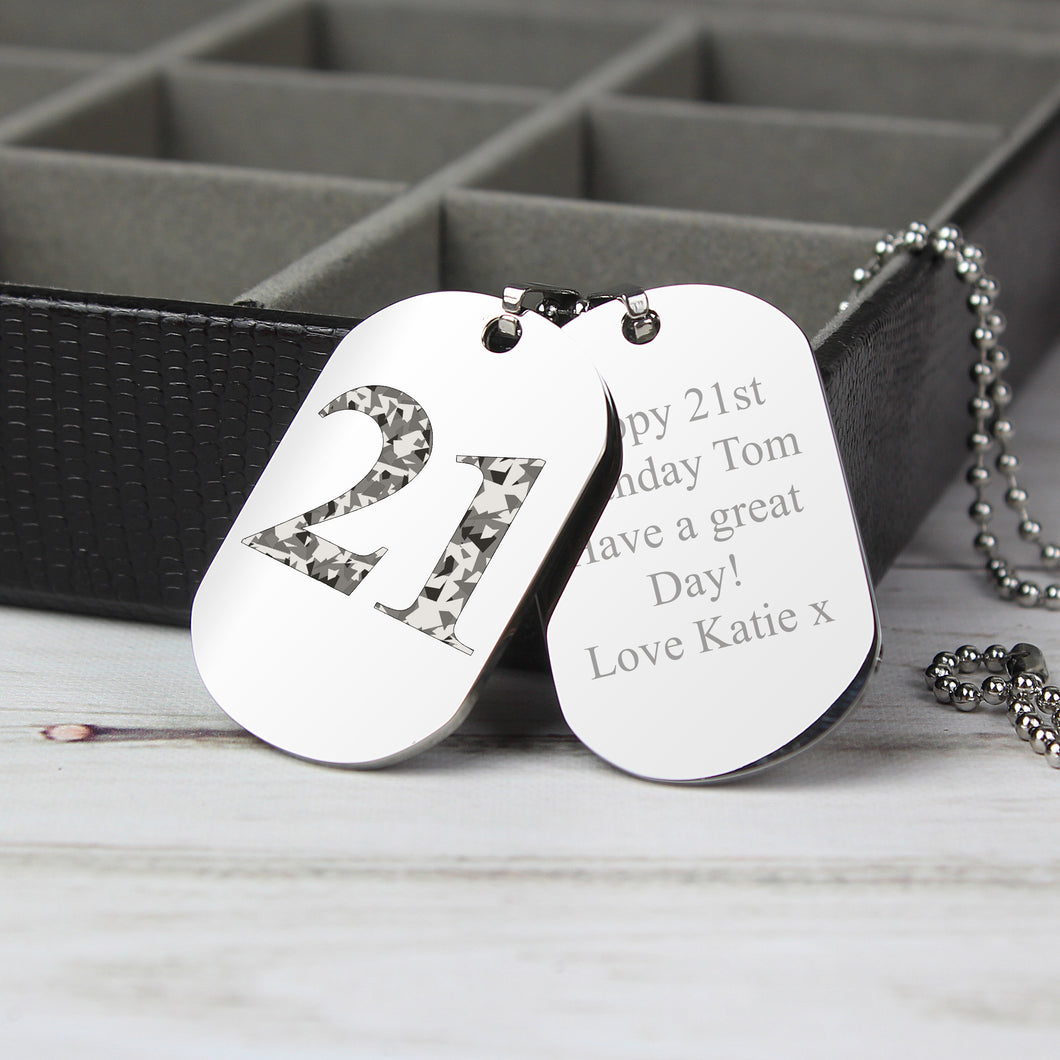Personalised Any Age Birthday Camouflage Design Double Dog Tag Necklace