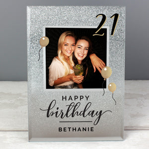 Personalised Any Age Birthday Glitter Photo Frame