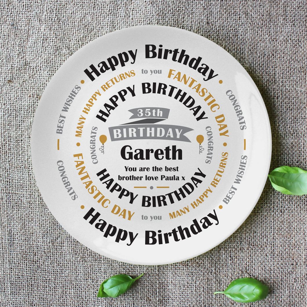 Personalised Bone China Birthday Keepsake Plate