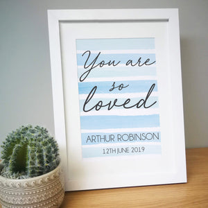 Personalised You Are So Loved Framed Print Lilac Or Blue Background