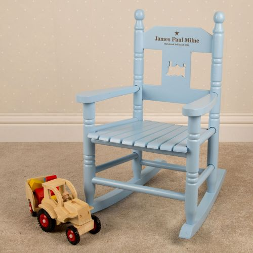 Sensational Personalised Childs Wooden Blue Rocking Chair Evergreenethics Interior Chair Design Evergreenethicsorg