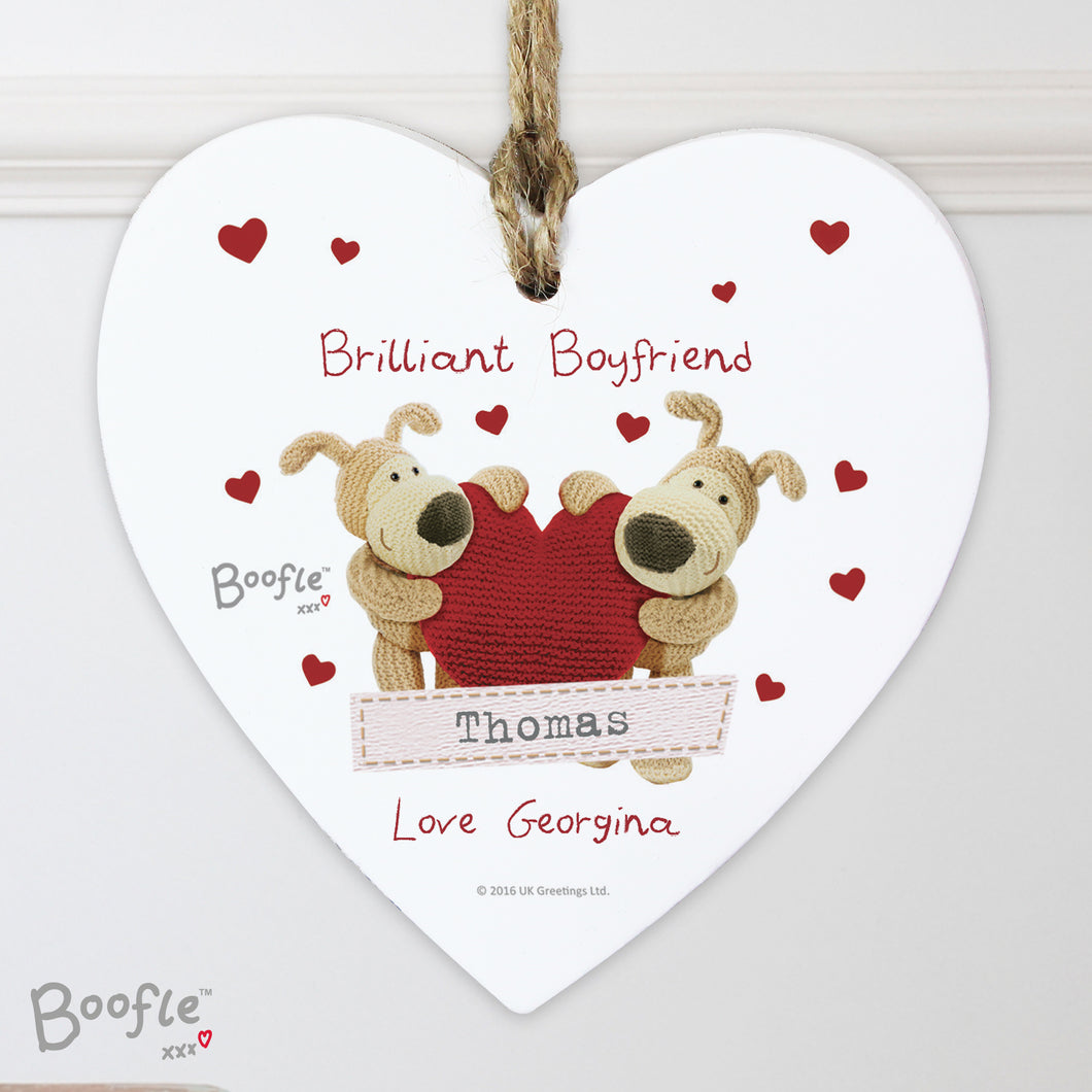 Personalised Boofle Wooden Hanging Heart Decoration