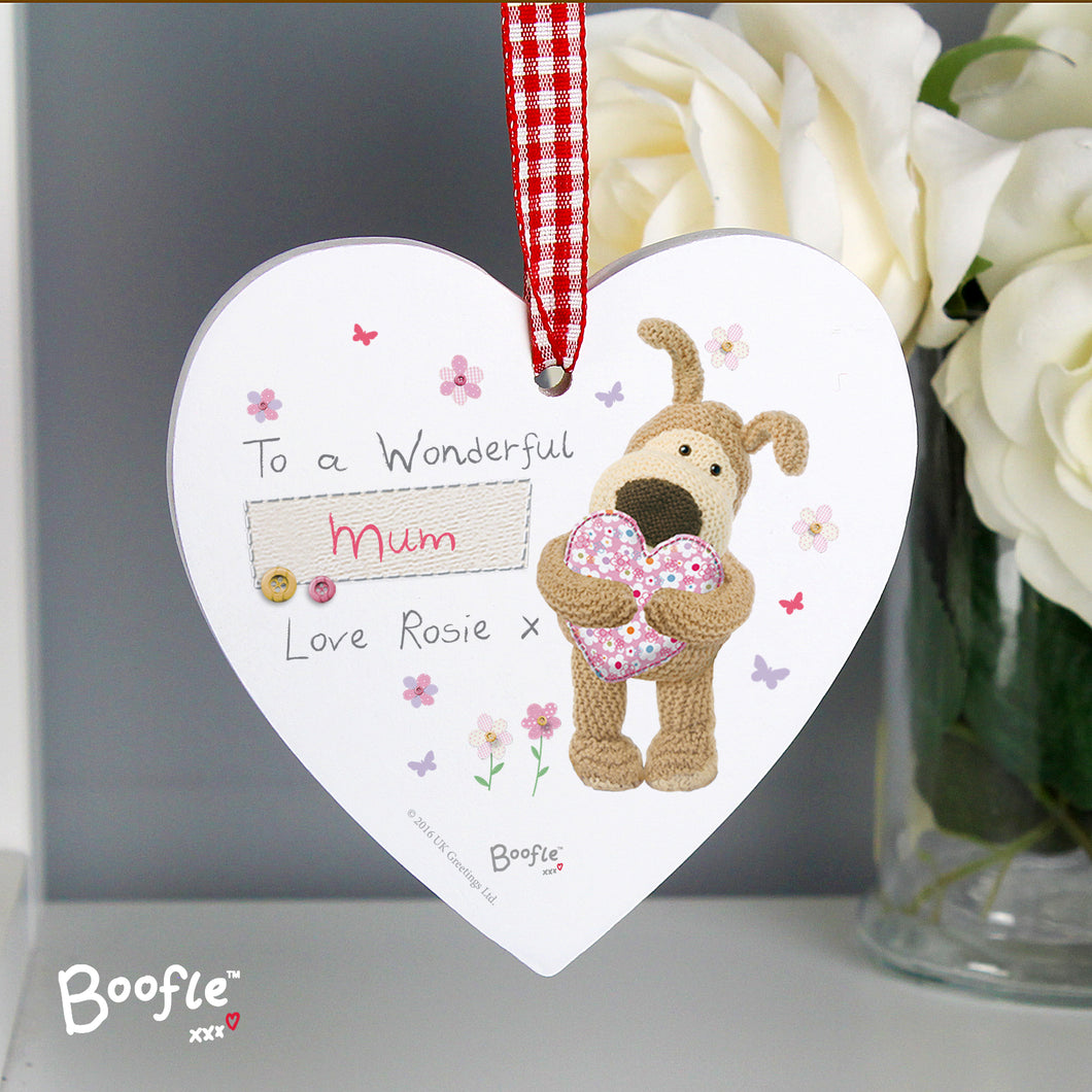 Personalised Wonderful Mum Boofle Hanging Wooden Heart