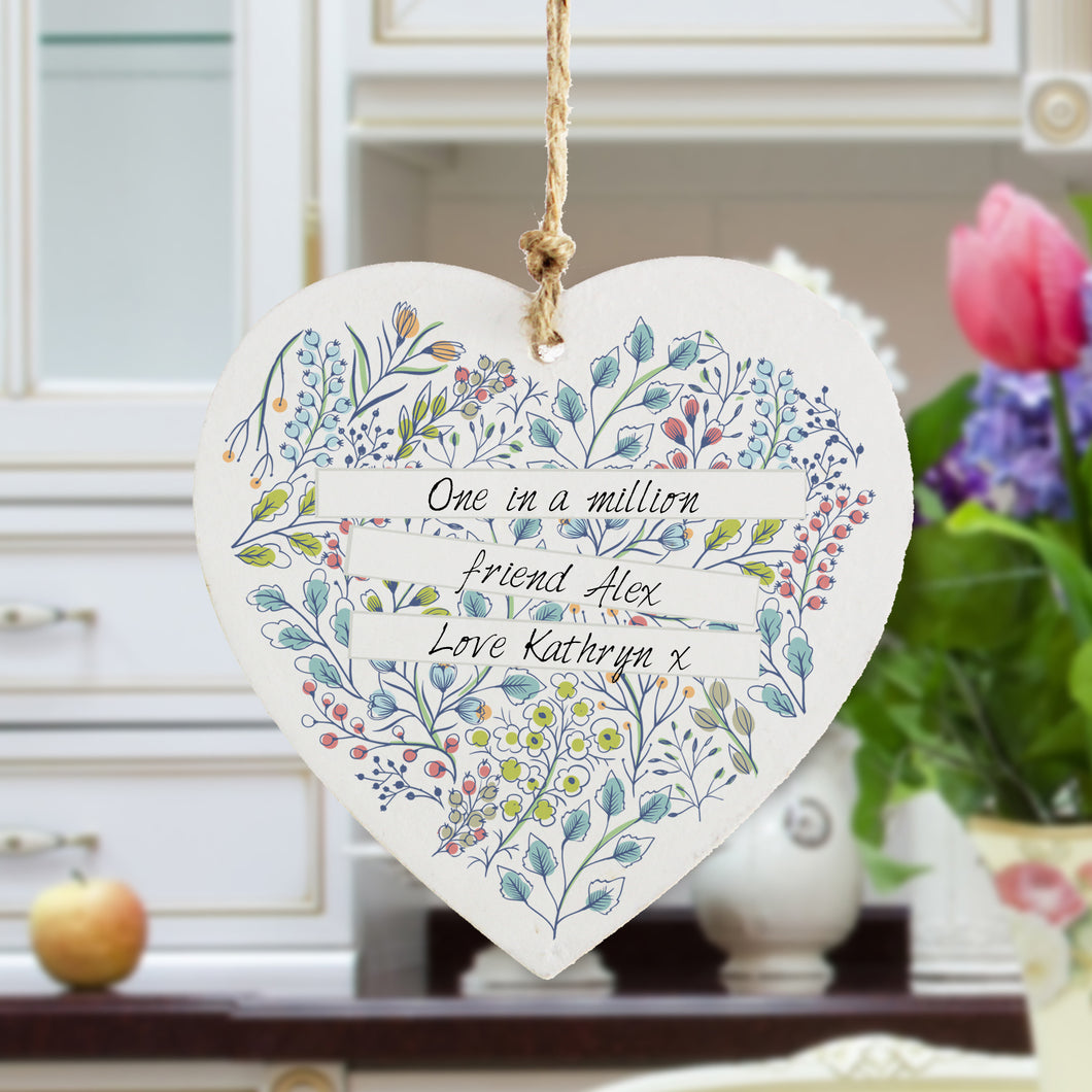 Personalised Botanical Wooden Hanging Heart