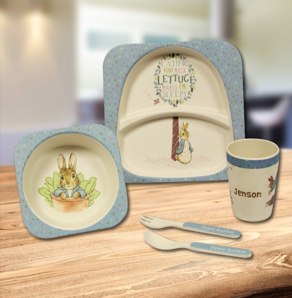 Personalised Peter Rabbit Eco-Friendly Organic Bamboo Breakfast Set