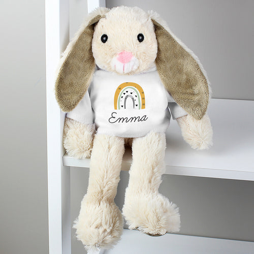 Personalised Rainbow Bunny Cuddly Toy