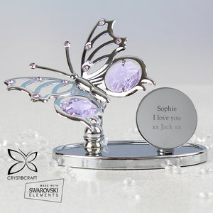Personalised Silver Plated & Crystal Butterfly