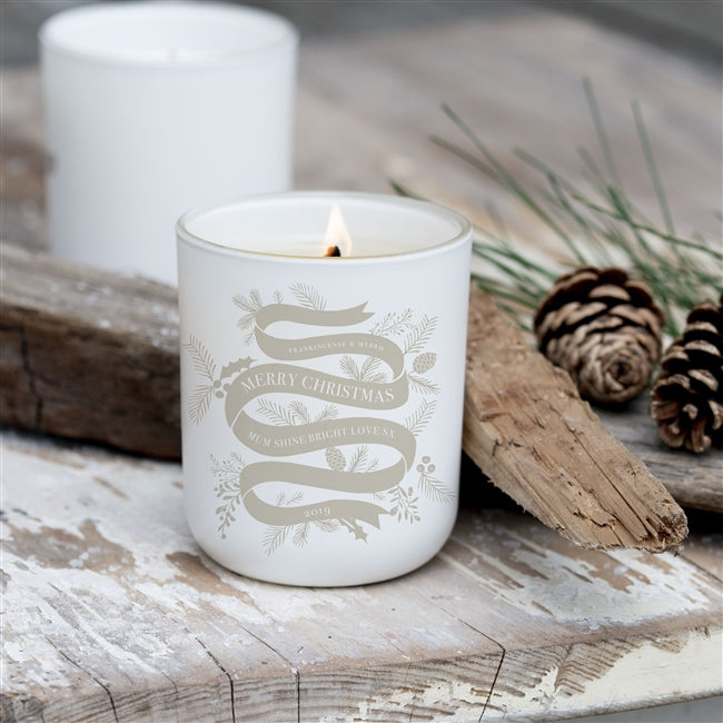 Personalised Christmas Ribbon Design Luxury Soy Wax Scented Candle