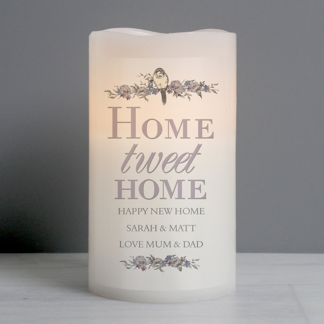 Personalised Home Tweet Home LED Candle