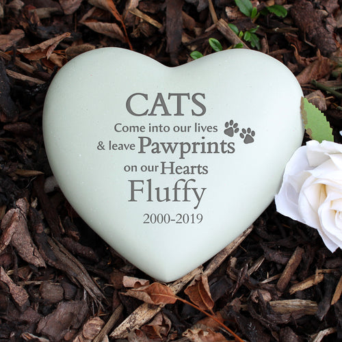Personalised Cat Pawprints Heart Memorial Stone