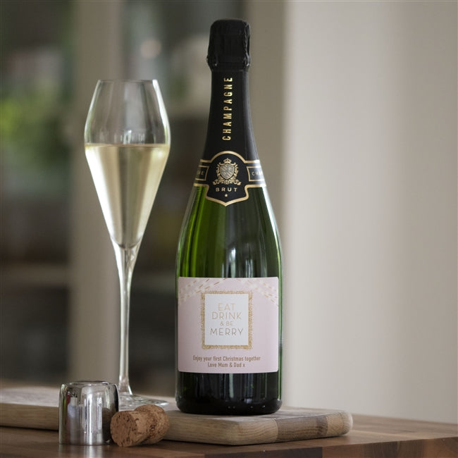 Personalised Eat Drink & Be Merry Champagne