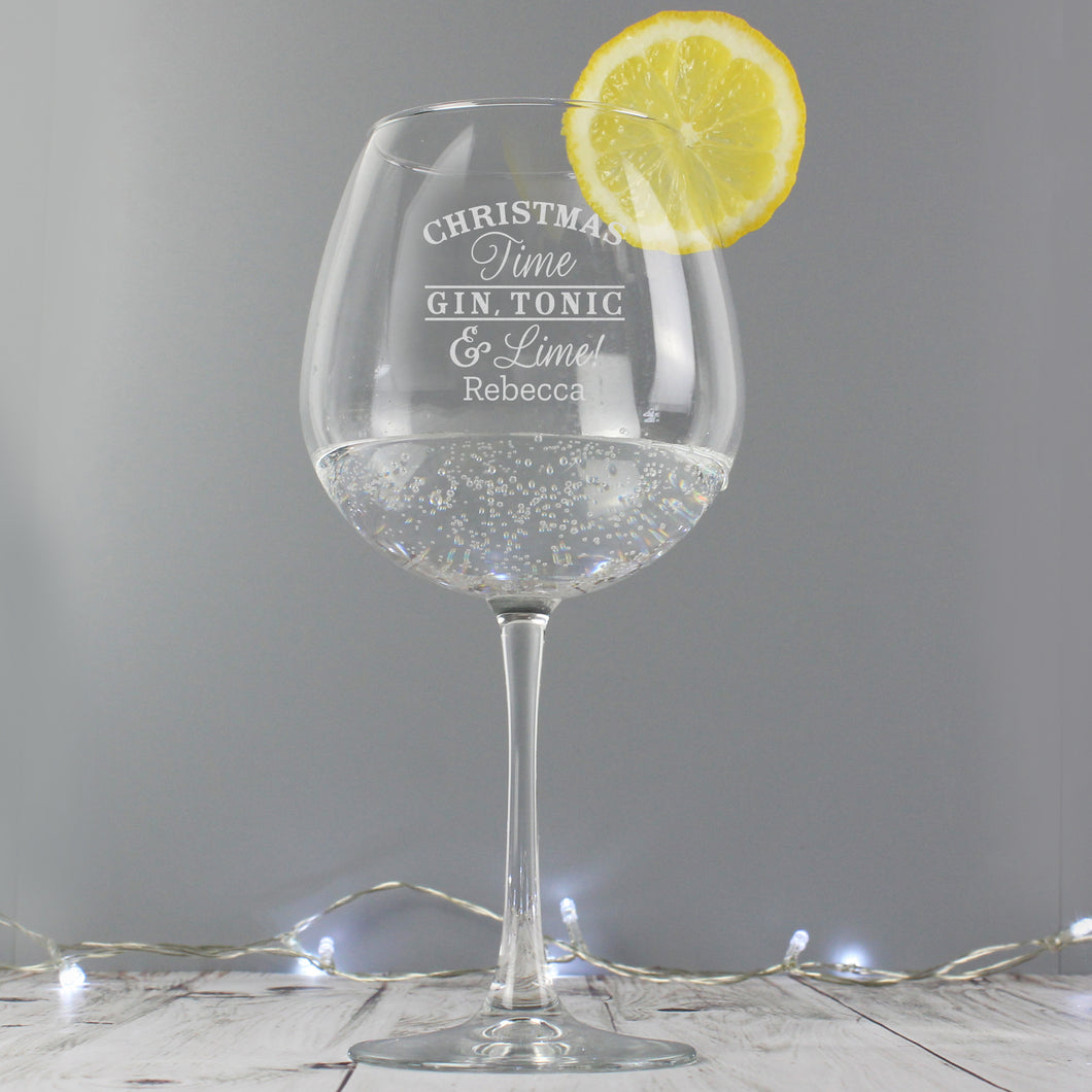 Personalised Christmas Time Gin Balloon Glass