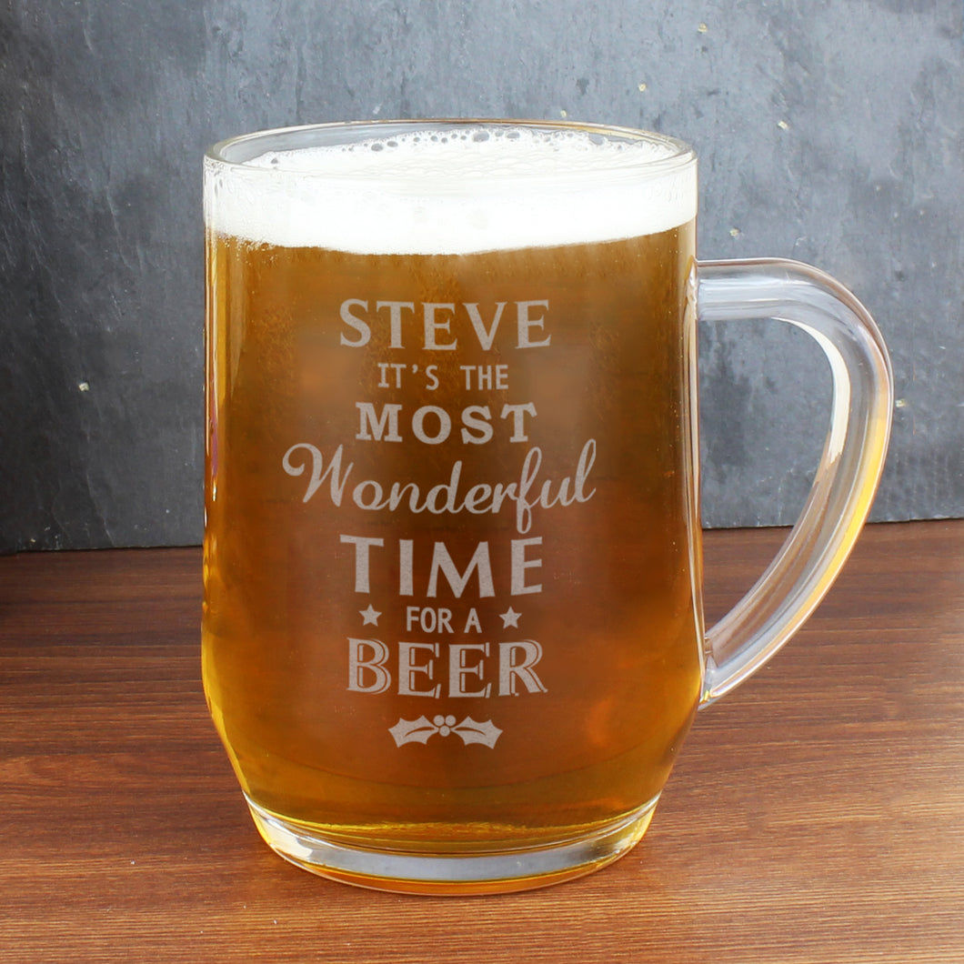 Personalised The Most Wonderful Time For A Beer Glass Tankard