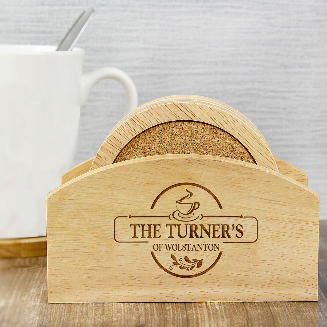 Personalised Coaster Set In Wooden Stand