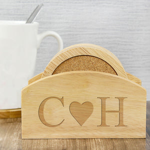 Personalised Initials Coaster Set In Wooden Stand