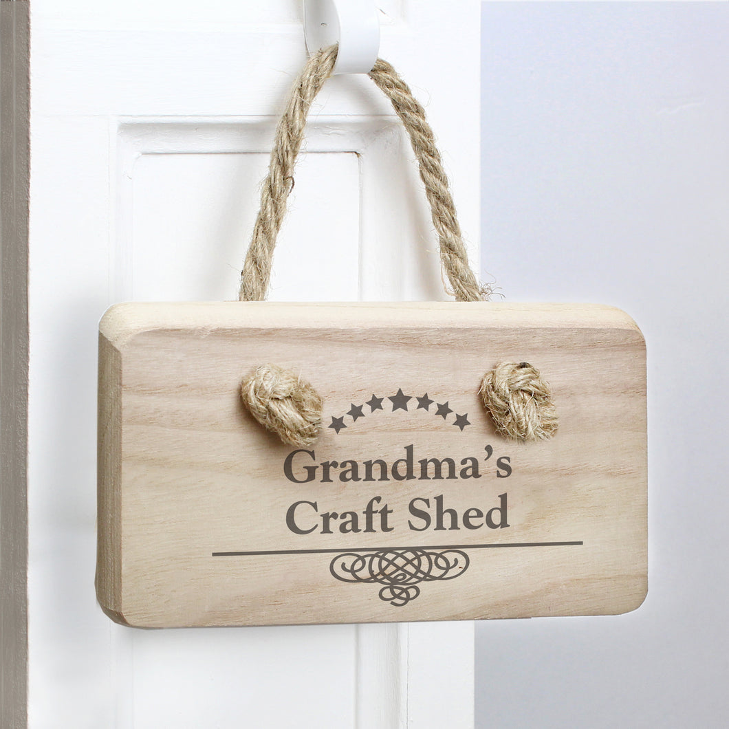 Personalised Craft Shed Hanging Wooden Sign