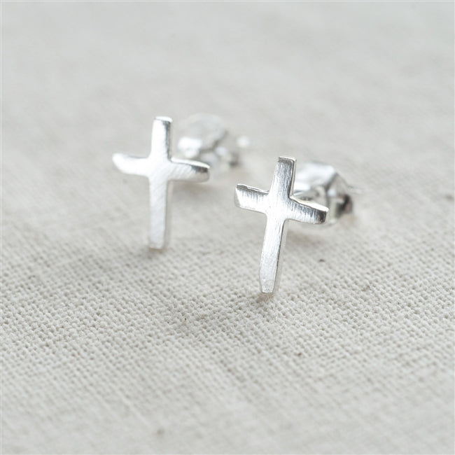Sterling Silver Cross Earrings In Personalised Gift Box