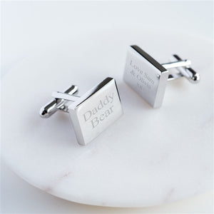 Personalised Daddy Bear Cufflinks In Personalised Gift Box