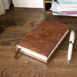 Personalised Tan Leather Covered 5 Year Diary
