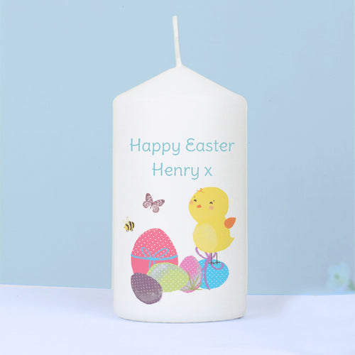 Personalised Easter Chick Pillar Candle