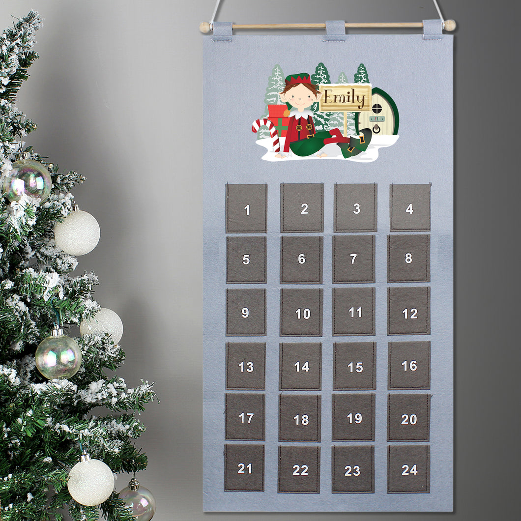 Personalised Christmas Elf Design Silver & Grey Felt Advent Calendar