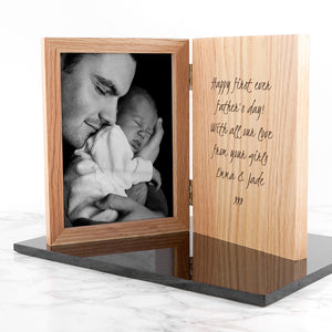 Personalised Hinged Wooden Photo Frame - Any Message