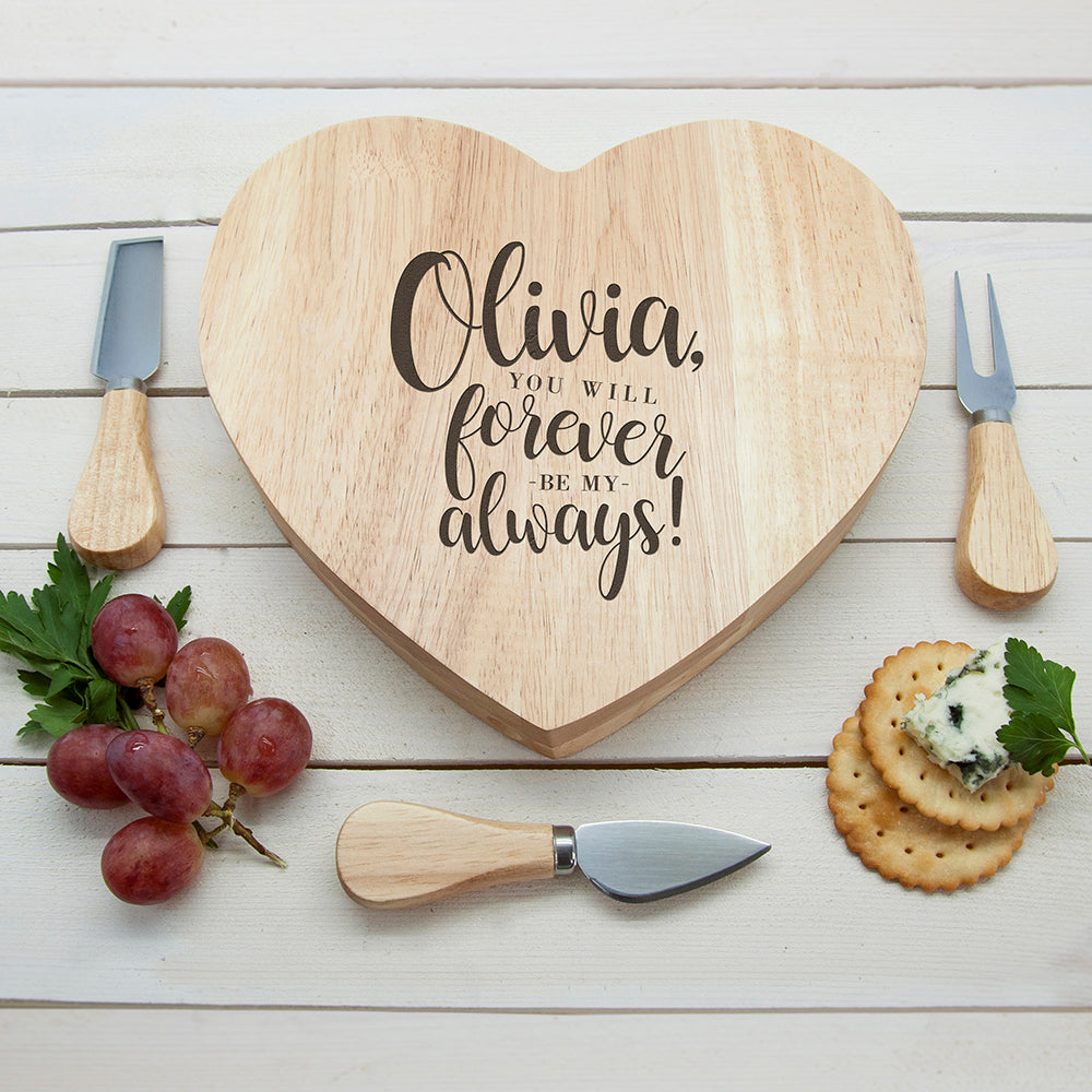 Personalised Forever My Always Heart Shaped Cheeseboard Set