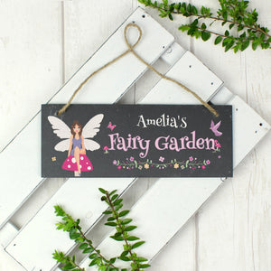 Personalised 'Fairy Garden' Hanging Slate Sign