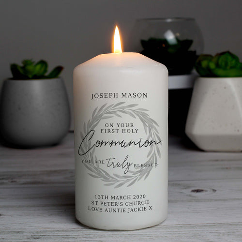 Personalised First Holy Communion Truly Blessed Pillar Candle
