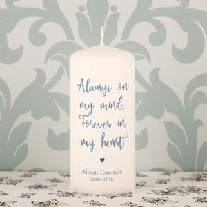 Personalised Always On My Mind Forever In My Heart Memorial Candle