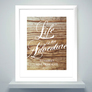 Personalised Life Is An Adventure Framed Print