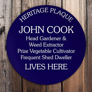 Personalised Spoof Heritage Plaque