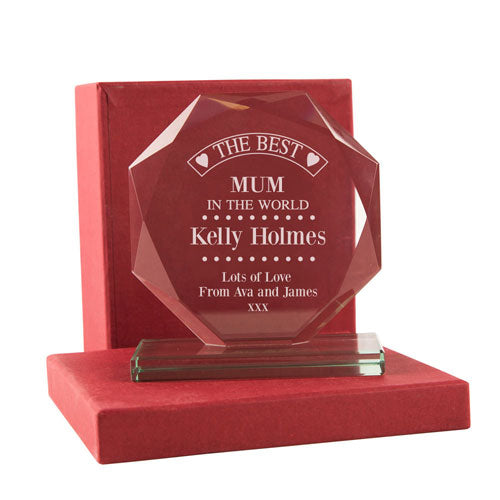 Personalised Best Mum In The World Glass Presentation Gift