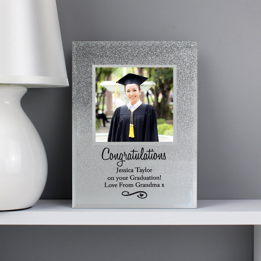 Personalised Congratulations Heart & Swirl Glitter Photo Frame